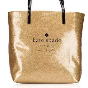 Kate Spade Holiday Drive Gold Glitter Bag